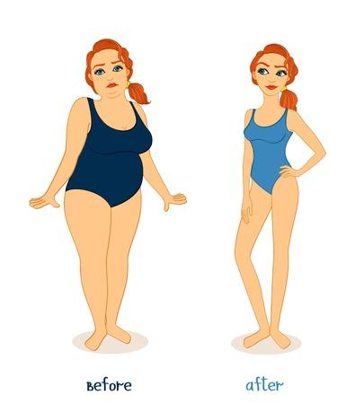 Vet en slanke vrouw figuren, voor en na het gewichtsverlies geïsoleerde vector illustratie Vector Illustratie