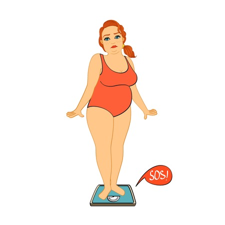 weight loss plan: Woman on weight scales unhappy with her figure isolated vector illustration