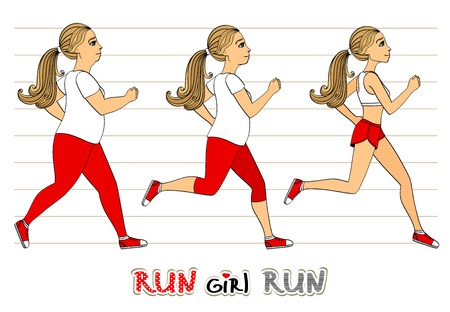 weight loss woman: Running woman weight loss fitness exercises progress isolated vector illustration