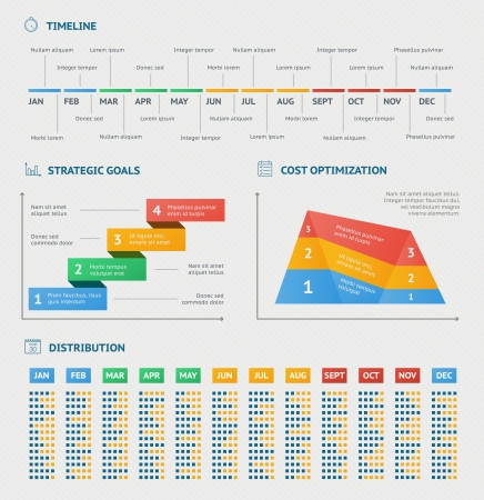 Business infographics charts for timeline strategy optimization and progress reports vector illustration