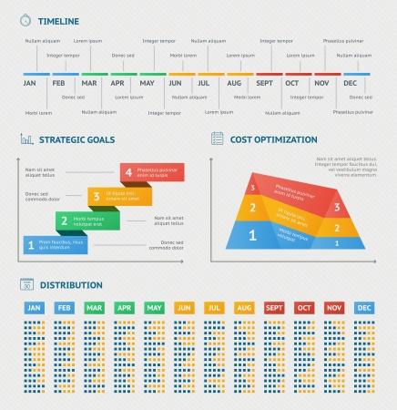 schema: Infografica Attivit� grafici per l'ottimizzazione strategia timeline e il progresso relazioni illustrazione vettoriale