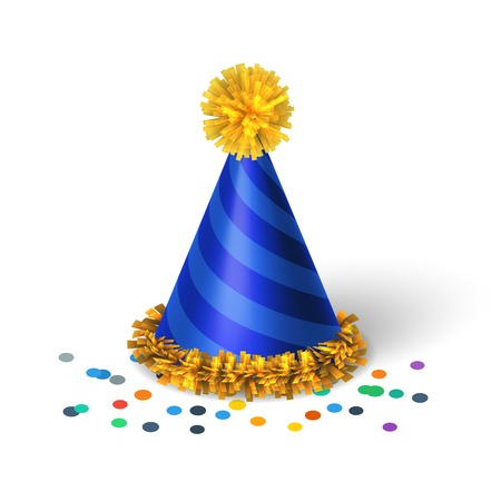 party hats: Blue birthday hat with spirals isolated vector illustration