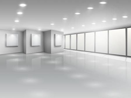 Empty gallery interior with light windows vector illustration