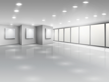 gallery: Empty gallery interior with light windows vector illustration