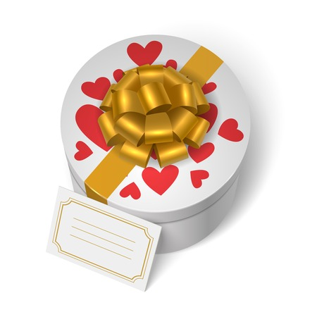 present box: Valentines present box with red hearts, yellow ribbon with bow and blank love message card vector illustration