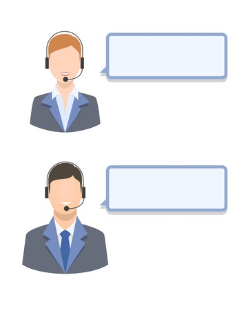 call center agent: Call center agents with blank text message isolated vector illustration