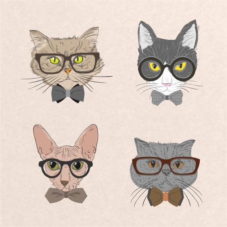 hipster mustache: Collection of hipster cats with bows and glasses isolated vector illustration Illustration