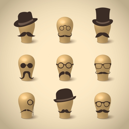 Set of retro mustaches hats and glasses on hat-blocks icons isolated vector illustration Vector