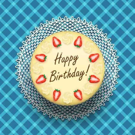 cheese cake: Cheese birthday cake with strawberries on table vector illustration