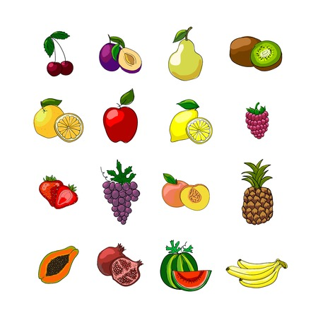Fruits icons set of orange grape apple strawberry kiwi pineapple cherry and others vector illustration Vector