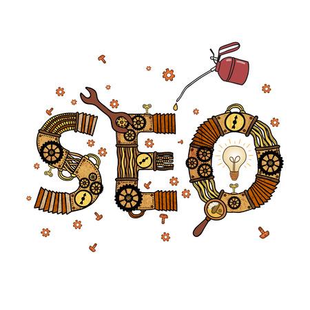 SEO concept retro symbol isolated vector illustration Vector