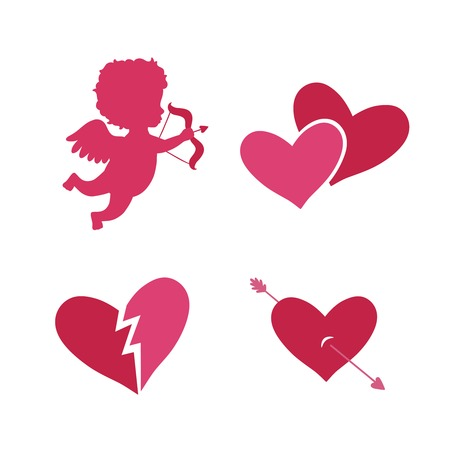 cupid: Set of cupid icons with heart arrows and angel isolated vector illustration Illustration