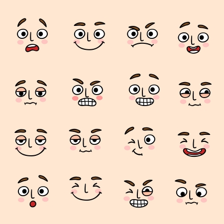 winking: Facial mood expression icons set of laugh fun and happiness isolated vector illustration Illustration