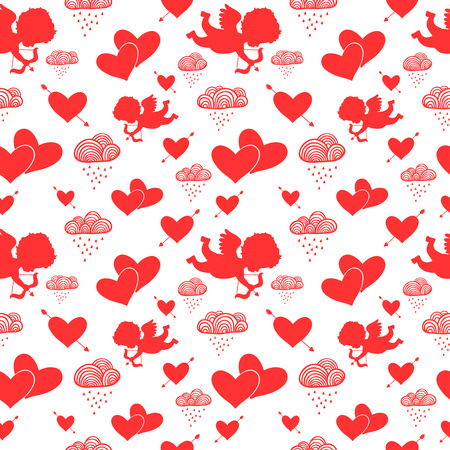 Love cupids hearts arrows and clouds seamless pattern vector illustration
