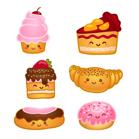 cupcakes isolated: Collection of sweet pastries croissant cake and pie isolated vector illustration