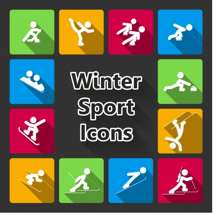 luge: Winter sports icons set isolated vector illustration