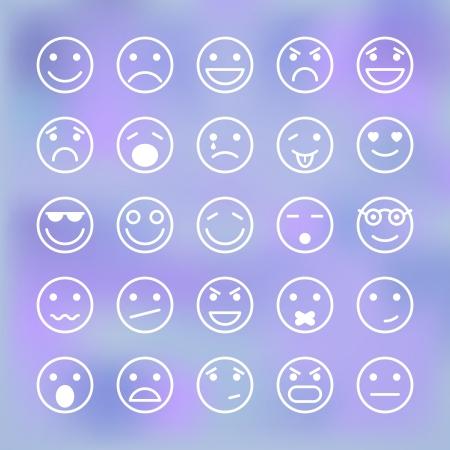 cara triste: Iconos fijados de caras sonrientes de ilustraci�n interfaz de la aplicaci�n m�vil de vectores