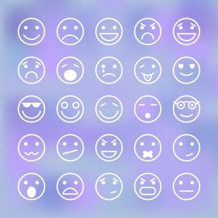 sad face: Icons set of smiley faces for mobile application interface isolated vector illustration Illustration