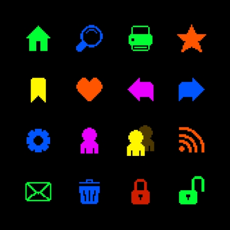 home search: Colored pixel icons set for website of home search print favorites isolated vector illustration Illustration