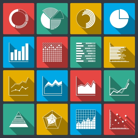 scattered: Business icons of ratings graphs and charts, infographic elements set isolated vector illustration