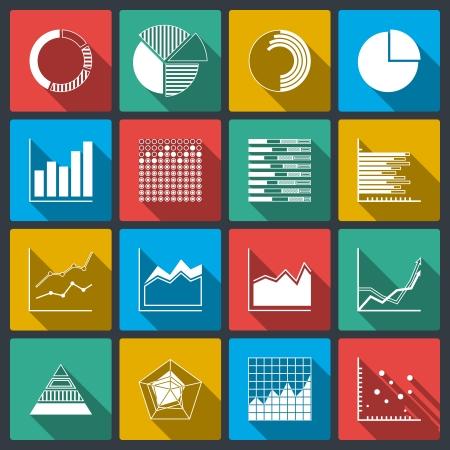 graph: Business-Symbole der Bewertungen Grafiken und Diagramme, Infografik-Elemente gesetzt isolierten Vektor-Illustration