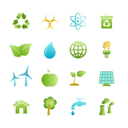 water pollution: Green eco icons set of apple leaf tree and water isolated vector illustration