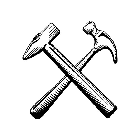 whack: Two crossed hammers symbol isolated vector illustration Illustration