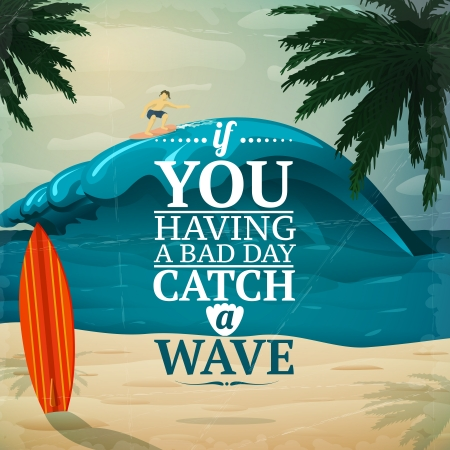 surfing: Catch a wave - vacation travel surfboard poster or postcard vector illustration