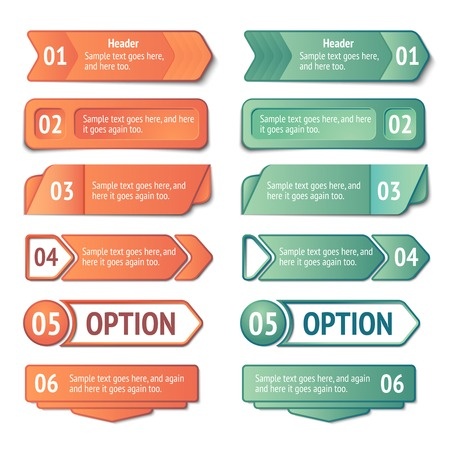 feedback sticker: Infographics options and titles banners set vector illustration