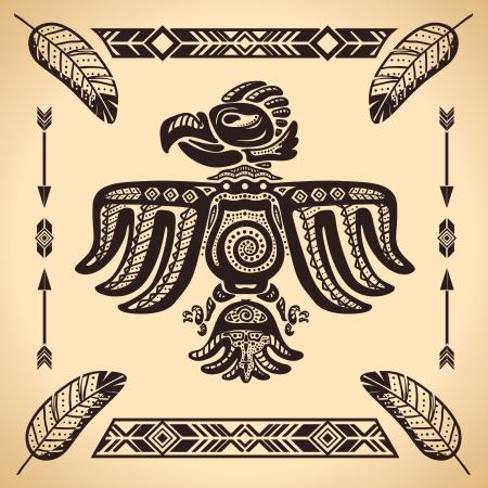 totem indiano: Tribal american eagle segno illustrazione vettoriale