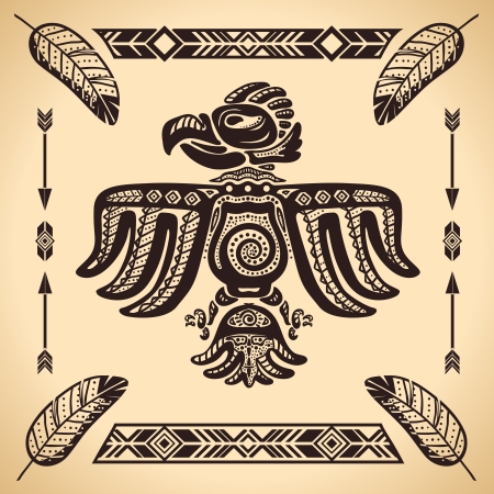 totem: Tribal american eagle sign vector illustration