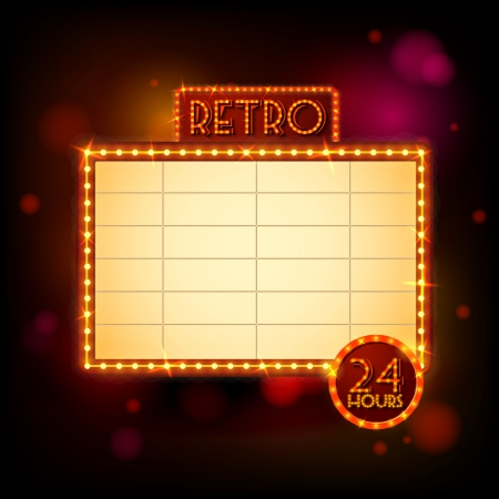 night light: Retro billboard poster vector illustration Illustration