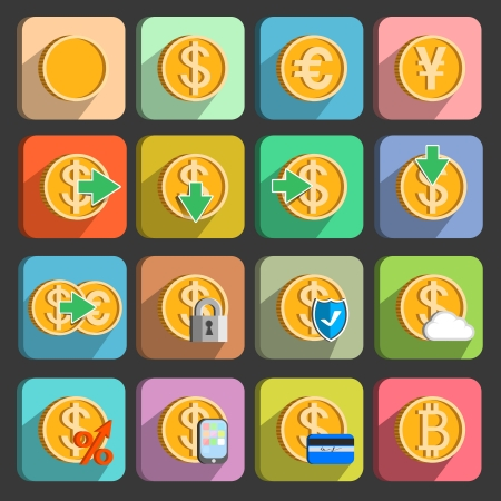 currency exchange: Icons set for electronic payments and transactions UI design in gold isolated vector illustration