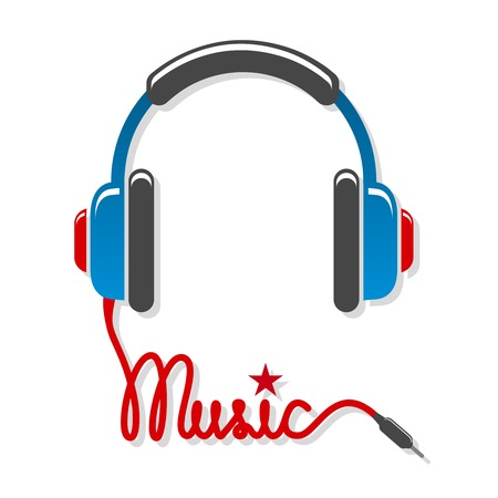 earphones: Headphones with cord and word music isolated vector illustration Illustration