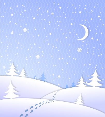 winter scenery: Winter background with falling snow footprints moon and forest vector illustration Illustration