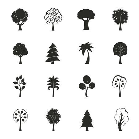 spar: Abstract ecologie groei iconen set pijnboomspar eiken en andere bomen geïsoleerd vector illustratie Stock Illustratie