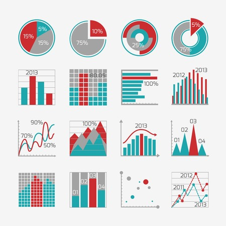 graph: Infographic elements for business report presentation or website isolated vector illustration