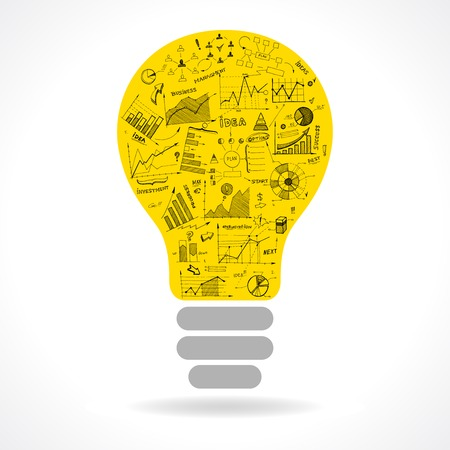 Doodle idea lightbulb icon with infographics charts isolated vector illustration Illustration