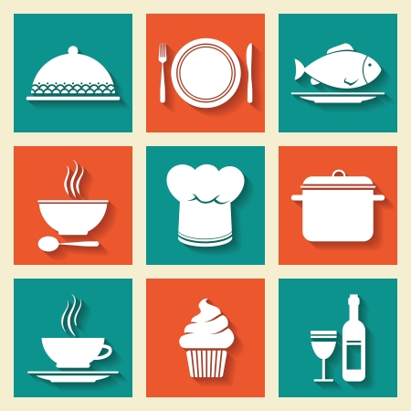 Restaurant cafe icons set of cooking hat dish kitchen stuff isolated vector illustration
