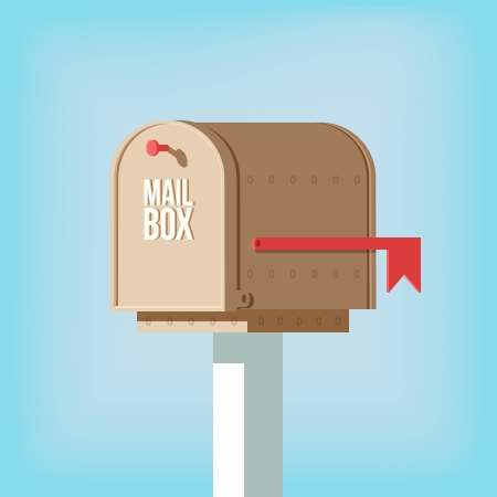 Mail postbox on pole with red flag vector illustration