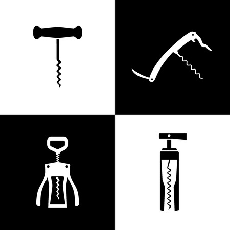 opener: Set of black and white corkscrews vector illustration Illustration