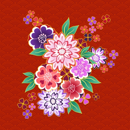 Decorative kimono floral motif on red background vector illustration