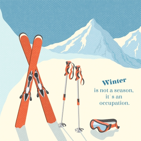 スキー冬山の風景の背景レトロ ポスター ベクトル イラスト