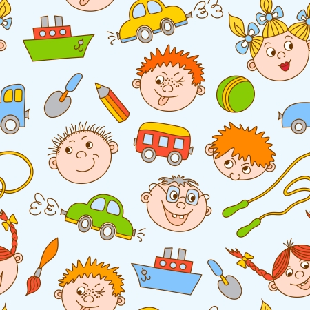 tileable: Seamless doodle smiling boys and girls with toys pattern vector illustration