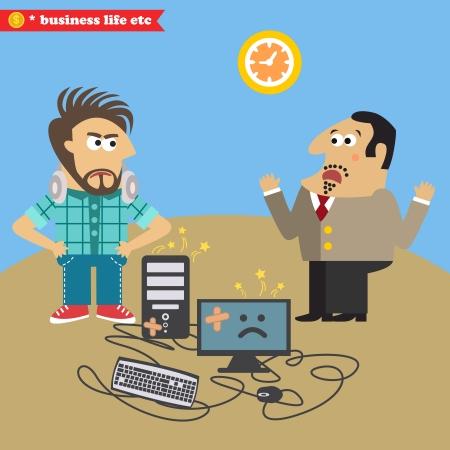 displeased: Boss broke his computer and displeased IT geek  illustration