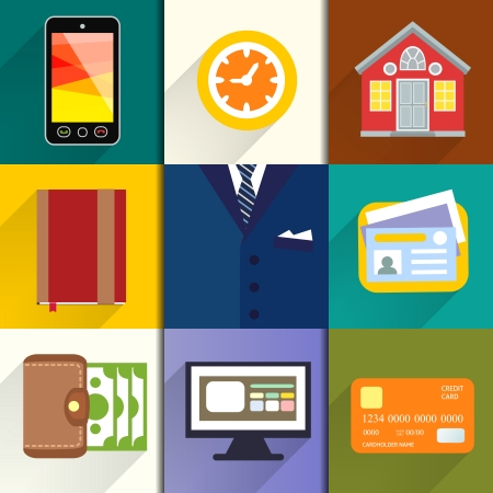 Collection of entrepreneur icons of computer credit card money and notebook illustration Vector