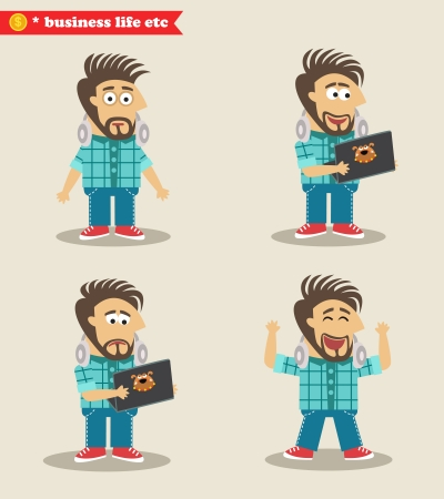 guy standing: Seasoned IT guy emotions in poses, standing set illustration