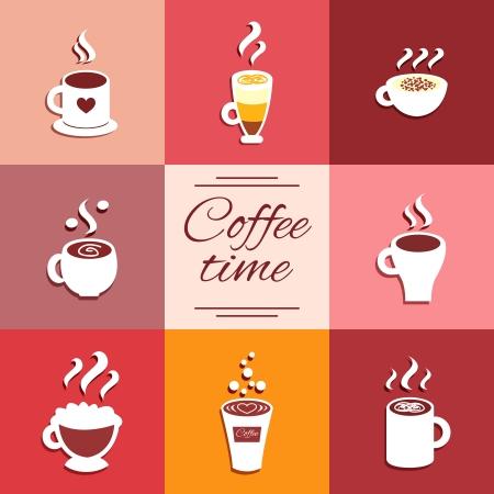 Sammlung Von Icons Tasse Mit Heißem Kaffee-Getränke Espresso Latte ...