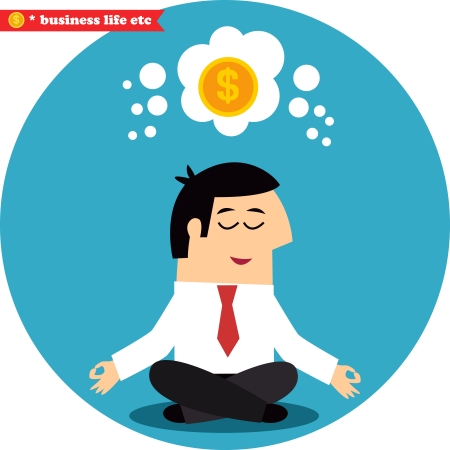 Manager meditating on money and success in the lotus position illustration Stock Vector - 24964905