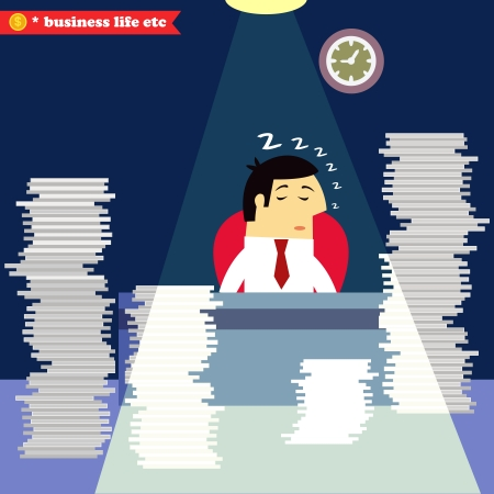 swamped: Businessman sleeping at the desk swamped with paper and documents illustration